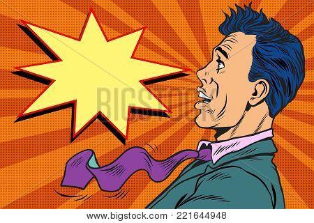Surprised pop art man. Pop art retro vector illustration