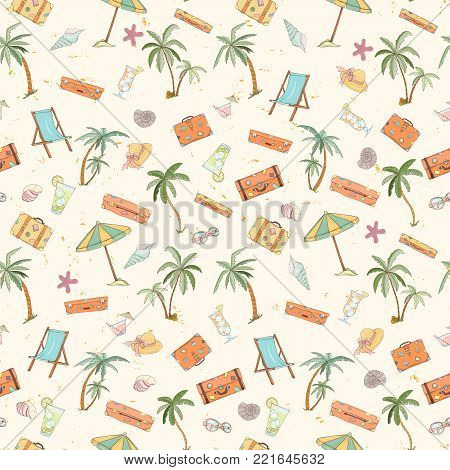 Seamless summer beach pattern. Endless hand drawn vector background of palm trees, sun bed, umbrella, travel bag, hat, shell can be used for wallpaper, wrapping paper, textile printing.