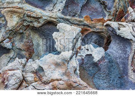 Rocky textures on Milos island, Cyclades, Greece .