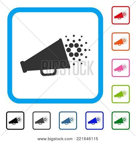 Cardano Megaphone icon. Flat grey iconic symbol inside a blue rounded rectangle. Black, gray, green, blue, red, pink color additional versions of cardano megaphone vector.