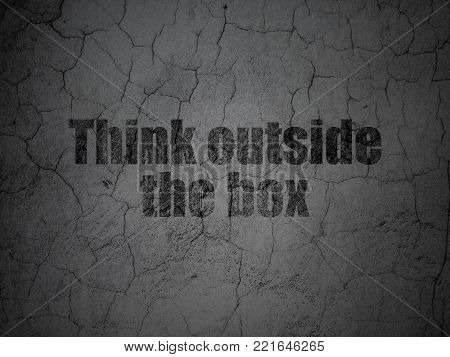Learning concept: Black Think outside The box on grunge textured concrete wall background