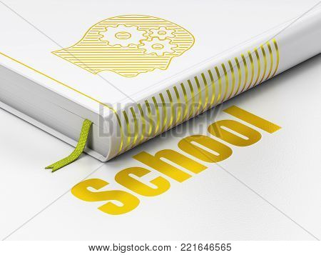 Education concept: closed book with Gold Head With Gears icon and text School on floor, white background, 3D rendering