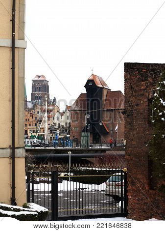 Old Town of Gdansk (Danzig) in Poland and the Crane (Polish: Zuraw)