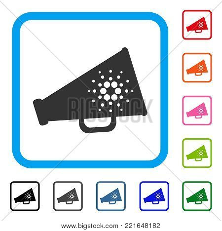 Cardano Megaphone icon. Flat grey pictogram symbol inside a blue rounded square. Black, gray, green, blue, red, pink color variants of cardano megaphone vector.