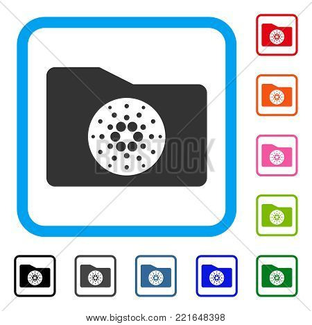 Cardano Purse icon. Flat grey iconic symbol in a blue rounded frame. Black, grey, green, blue, red, pink color variants of cardano purse vector. Designed for web and application UI.