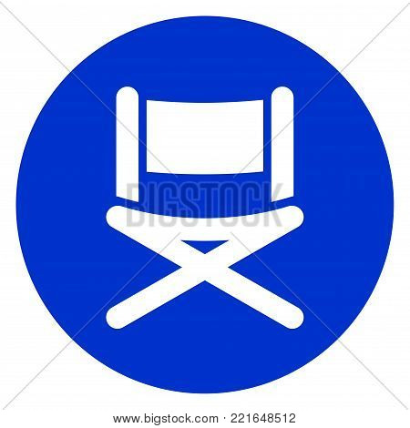 Illustration of blue chair circle icon concept