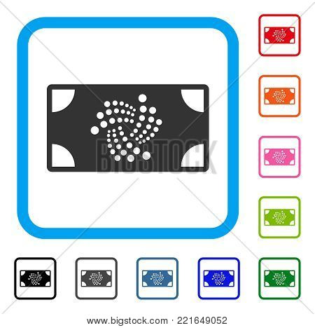 Iota Banknote icon. Flat gray pictogram symbol inside a blue rounded rectangle. Black, grey, green, blue, red, orange color additional versions of iota banknote vector.