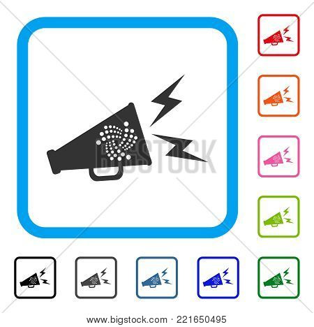 Iota Alert Megaphone icon. Flat gray iconic symbol inside a blue rounded rectangular frame. Black, grey, green, blue, red, orange color additional versions of iota alert megaphone vector.