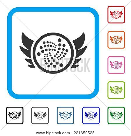 Iota Angel Investment icon. Flat gray iconic symbol inside a blue rounded rectangular frame. Black, gray, green, blue, red, pink color additional versions of iota angel investment vector.