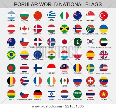 world national flags set, accurate colors button national flags collection