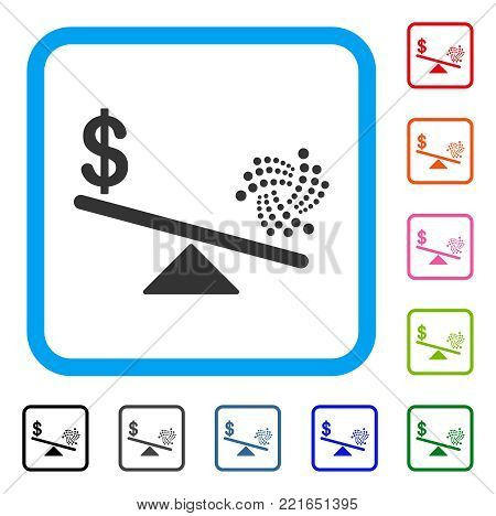 Iota Dollar Balance Scale icon. Flat gray iconic symbol in a blue rounded rectangle. Black, gray, green, blue, red, orange color versions of iota dollar balance scale vector.
