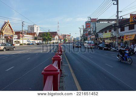 HUA HIN, THAILAND - December 8, 2017: Road traffic in Hua Hin Thailand