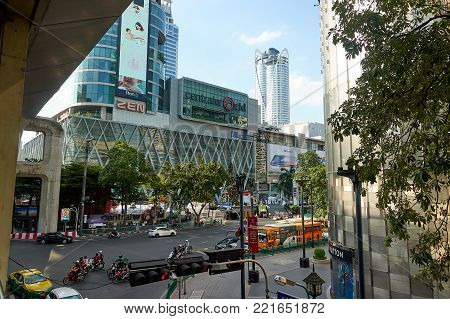 BANGKOK, THAILAND - December 6, 2017: Big C supercenter, in the opposite of Central World, on Ratchadamri road. ar traffic near the Big C suppercenter