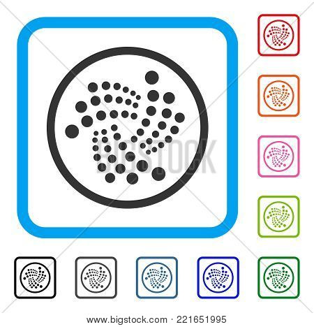 Iota Rounded icon. Flat grey iconic symbol inside a blue rounded rectangle. Black, grey, green, blue, red, orange color additional versions of iota rounded vector. Designed for web and software UI.