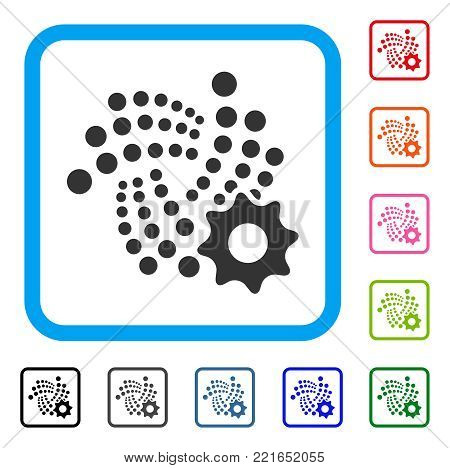 Iota Setup Gear icon. Flat gray iconic symbol in a blue rounded rectangular frame. Black, gray, green, blue, red, orange color additional versions of iota setup gear vector.