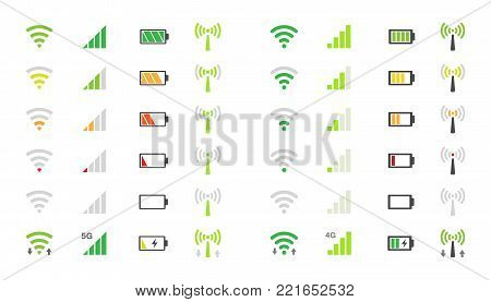 wi-fi signal icons, battery energy charge, mobile signal level icon