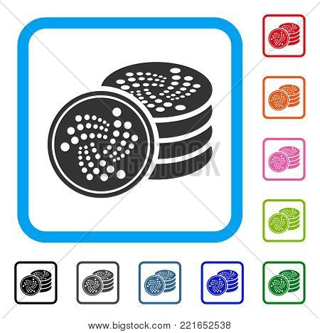 Iota Coins icon. Flat gray pictogram symbol in a blue rounded squared frame. Black, grey, green, blue, red, pink color versions of iota coins vector. Designed for web and software user interface.