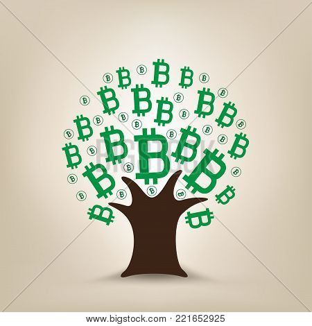 Green bitcoin leaves grows on the tree. Crypto money mining illustration. Blockchain cryptography currency electronic financial technology