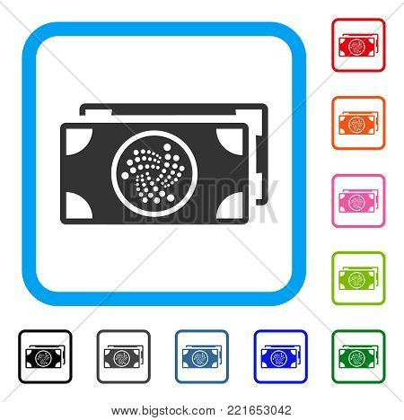Iota Banknotes icon. Flat gray iconic symbol in a blue rounded frame. Black, gray, green, blue, red, orange color versions of iota banknotes vector. Designed for web and application UI.