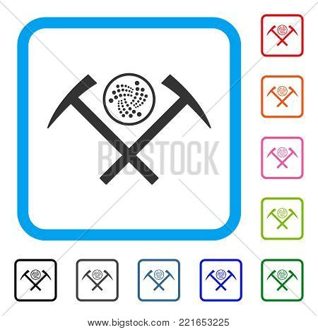 Iota Mining Hammers icon. Flat gray pictogram symbol inside a blue rounded frame. Black, grey, green, blue, red, orange color versions of iota mining hammers vector.