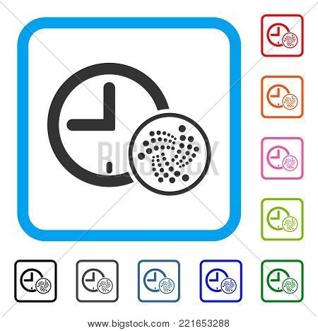 Iota Time icon. Flat gray iconic symbol inside a blue rounded rectangle. Black, gray, green, blue, red, pink color versions of iota time vector. Designed for web and app interfaces.