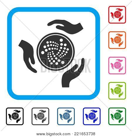 Iota Coin Care Hands icon. Flat gray iconic symbol inside a blue rounded squared frame. Black, grey, green, blue, red, orange color additional versions of iota coin care hands vector.