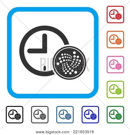 Iota Coin Time icon. Flat gray pictogram symbol in a blue rounded rectangle. Black, gray, green, blue, red, pink color variants of iota coin time vector. Designed for web and app interfaces.