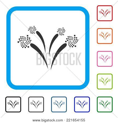 Iota Festive Fireworks icon. Flat grey pictogram symbol in a blue rounded squared frame. Black, gray, green, blue, red, pink color variants of iota festive fireworks vector.