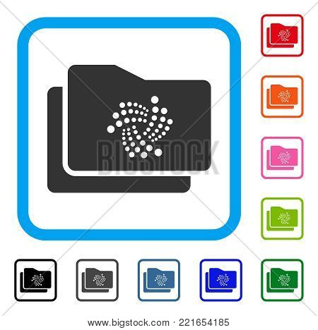 Iota Folders icon. Flat grey iconic symbol in a blue rounded frame. Black, gray, green, blue, red, pink color variants of iota folders vector. Designed for web and application UI.