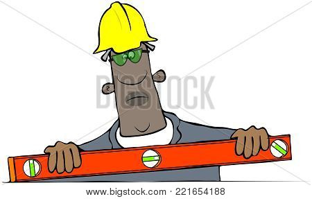 Illustration of a black construction worker in a trench using a large bubble level.