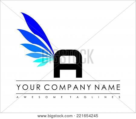 A Letter Blue Wings Logo Design Icon. Flying Wing Letter Logo with Creative Black Wing Concept.