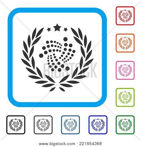Iota Laurel Wreath icon. Flat gray pictogram symbol inside a blue rounded rectangular frame. Black, grey, green, blue, red, pink color versions of iota laurel wreath vector.