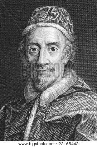 Pope Clement IX (1600-1669). Engraved by J.Wedgwood and published in the Proprietor, United Kingdom, 1821.