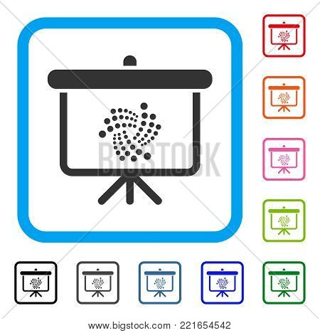 Iota Presentation Board icon. Flat grey pictogram symbol in a blue rounded square. Black, gray, green, blue, red, pink color versions of iota presentation board vector.