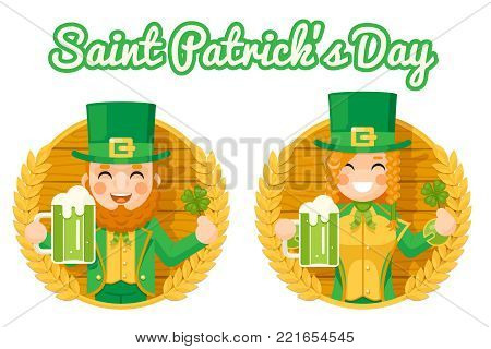 Leprechaun Cute Gnome Girl Saint Patrick Day Celebration Clover Success and Prosperity Symbol Mug Beer with Foam Icon on Barrel Background Greeting Card Flat Design Vector Illustration. poster