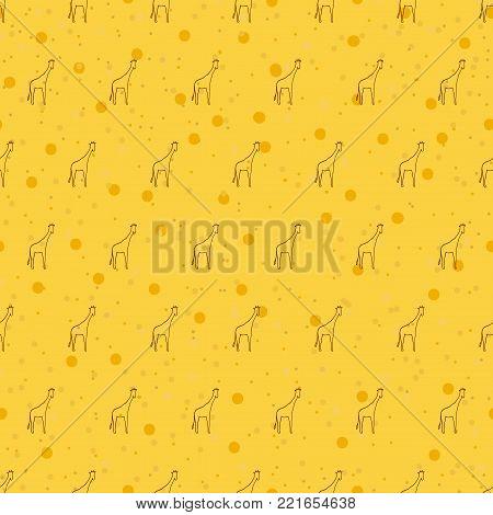 Seamless pattern background giraffe. Vector yellow wallpaper wildlife. Animals of Africa.