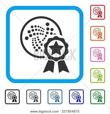 Iota Star Reward icon. Flat gray iconic symbol inside a blue rounded rectangular frame. Black, gray, green, blue, red, orange color variants of iota star reward vector.