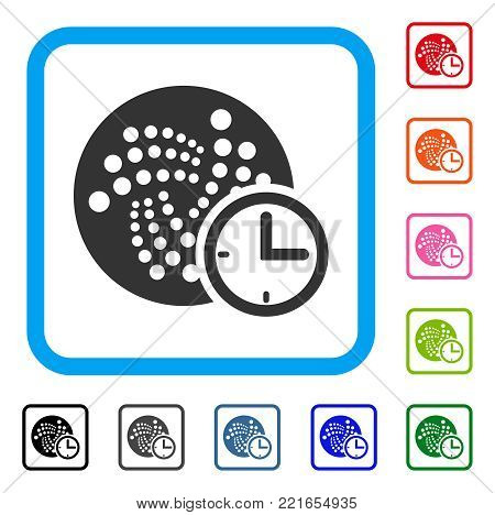 Iota Time Credit icon. Flat gray iconic symbol in a blue rounded rectangle. Black, gray, green, blue, red, pink color versions of iota time credit vector. Designed for web and software UI.
