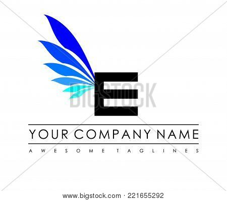 E Letter Blue Wings Logo Design Icon. Flying Wing Letter Logo with Creative Black Wing Concept.