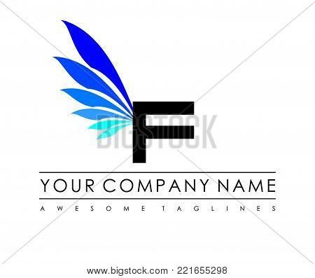 F Letter Blue Wings Logo Design Icon. Flying Wing Letter Logo with Creative Black Wing Concept.