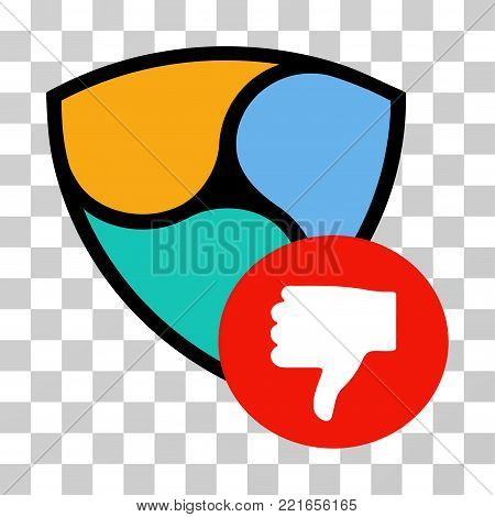 Nem Thumb Down vector pictogram. Illustration style is flat iconic symbol on a chess transparent background.