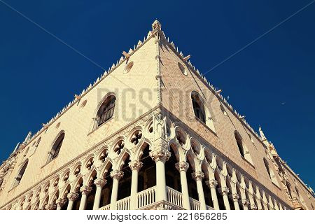 Venice, Italy - August 14, 2017: The Ducal Palace is the former residence of the rulers of the mighty Venetian Republic