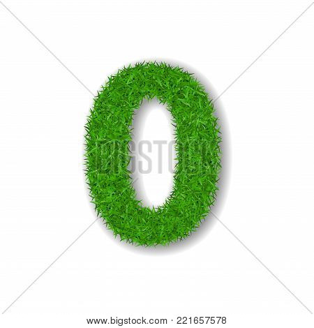 Grass number zero. Green number 0, isolated on white background. Green grass 3D zero, symbol of fresh nature, plant lawn, summer. Grass texture spring font. Beautiful eco design Vector illustration