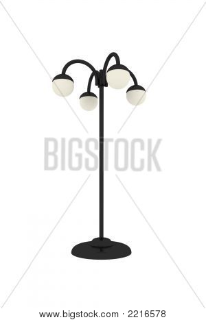 3D Render Of The Street Lamp With 4 Bulbs