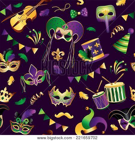 seamless pattern. Template with Golden Carnival Masks on Black Background. Glittering Celebration Festive. Vector Illustration.