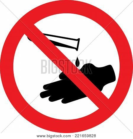 No corrosive substances allowed sign on white background