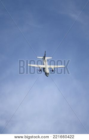 ROME - JUNE 29: Italian Air Force Alenia Aermacchi C-27j Spartan performs at the Rome International Air Show on June 29, 2014 in Rome, Italy