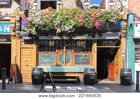 DUBLIN, IRELAND - SEPTEMBER 5, 2016: The Doheny & Nesbitt Bar on September 5, 2016 in Dublin. The Bankers Lounge is a famous landmark in Dublins cultural quarter visited by thousands of tourists every year