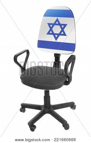 The Israeli flag - on the back of a chair. Isolated on white background.