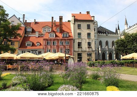 Riga, Latvia - August 11, 2017: Urban scenic in the old town of Riga. Northern Europe, Latvia